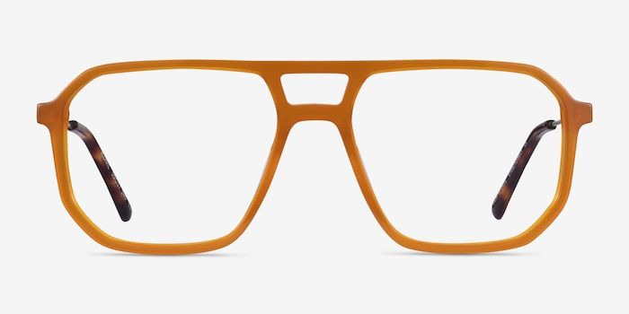 Iconic Mellow Yellow & Silver Acetate-metal Eyeglass Frames from EyeBuyDirect, Front View