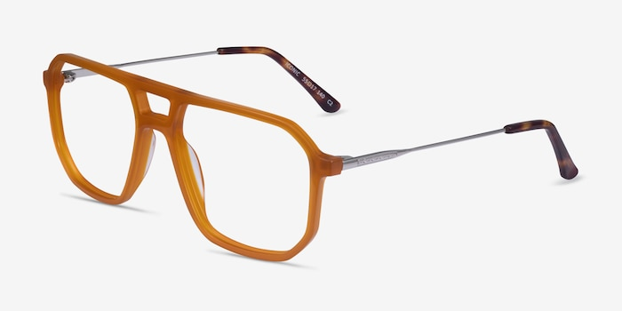 Iconic Mellow Yellow & Silver Acetate-metal Eyeglass Frames from EyeBuyDirect, Angle View