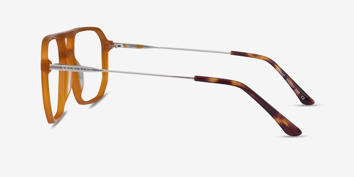 Iconic Mellow Yellow & Silver Acetate-metal Eyeglass Frames from EyeBuyDirect, Side View