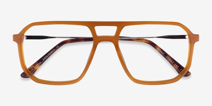 Iconic Mellow Yellow & Silver Acetate-metal Eyeglass Frames from EyeBuyDirect, Closed View