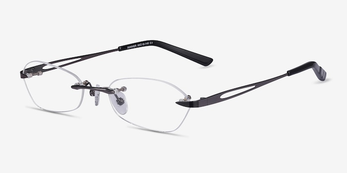 Summer Gunmetal Metal Eyeglass Frames from EyeBuyDirect, Angle View