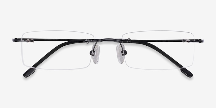 Billings Black Metal Eyeglass Frames from EyeBuyDirect, Closed View