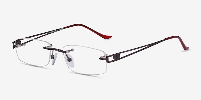 Ottawa Brown Metal Eyeglass Frames from EyeBuyDirect, Angle View