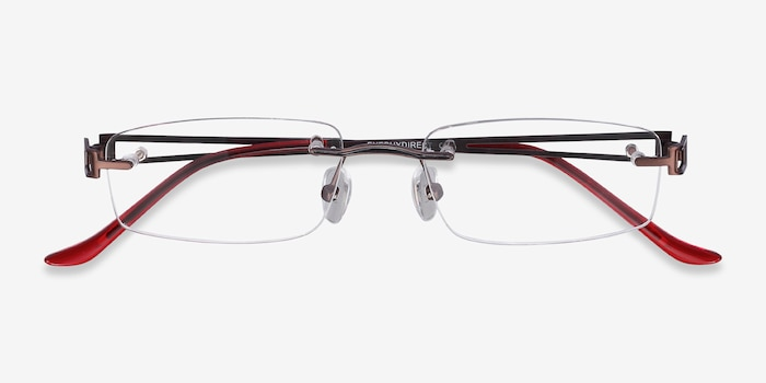 Ottawa Brown Metal Eyeglass Frames from EyeBuyDirect, Closed View