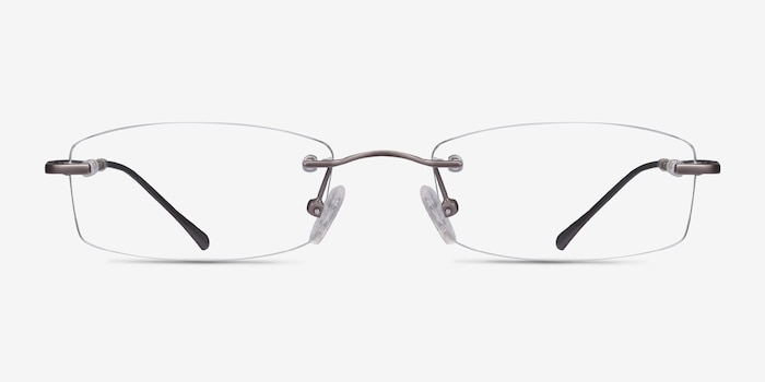 Connie Gunmetal Metal Eyeglass Frames from EyeBuyDirect, Front View