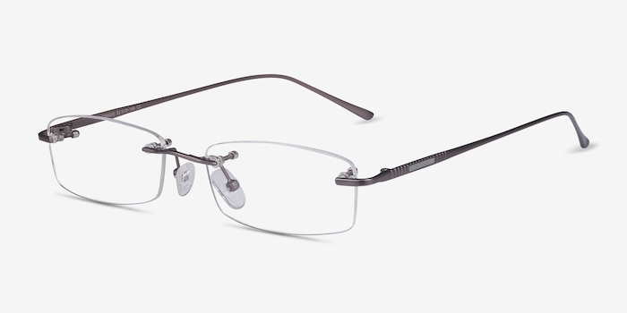 Connie Gunmetal Metal Eyeglass Frames from EyeBuyDirect, Angle View