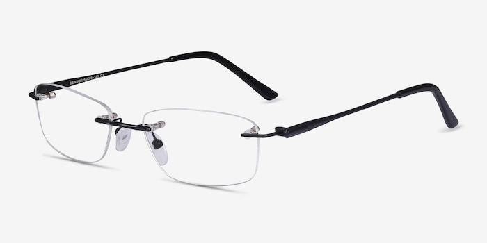 Benson Black Metal Eyeglass Frames from EyeBuyDirect, Angle View