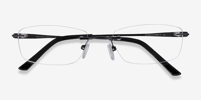 Benson Black Metal Eyeglass Frames from EyeBuyDirect, Closed View