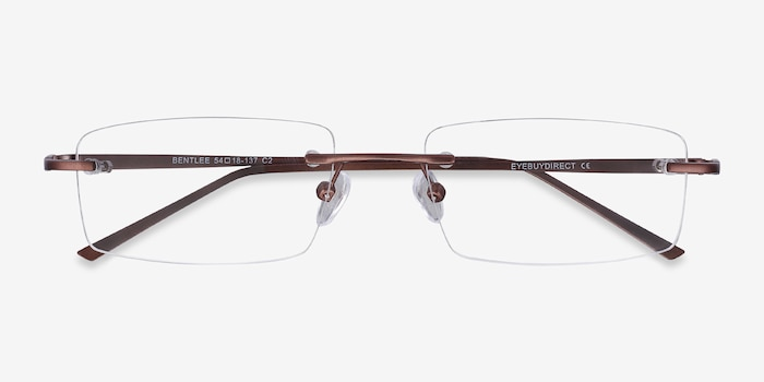 Bentlee Coffee Metal Eyeglass Frames from EyeBuyDirect, Closed View