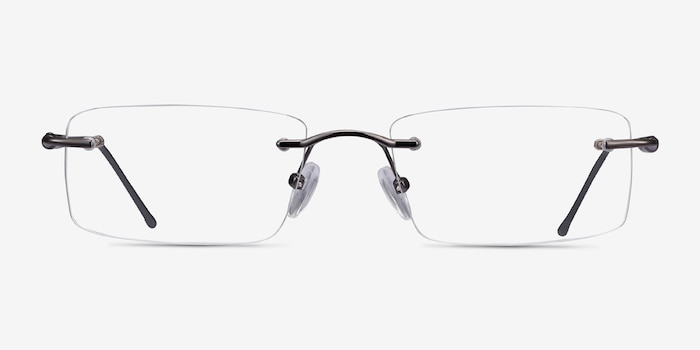 Pickering Gunmetal Metal Eyeglass Frames from EyeBuyDirect, Front View