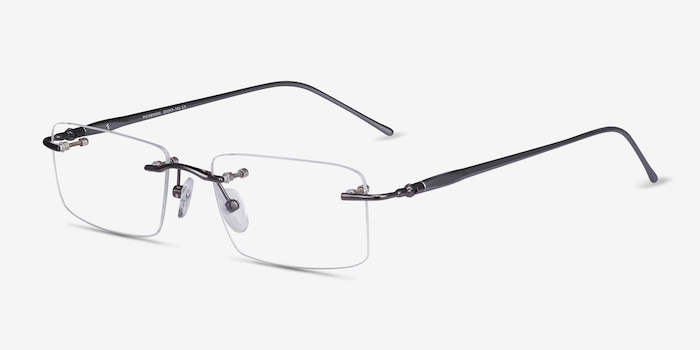 Pickering Gunmetal/Gray Metal Eyeglass Frames from EyeBuyDirect, Angle View