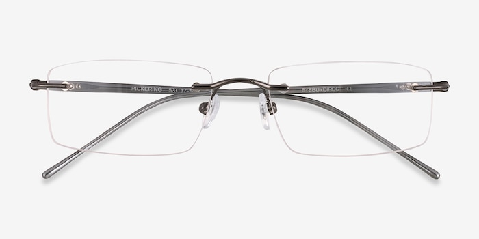 Pickering Gunmetal Metal Eyeglass Frames from EyeBuyDirect, Closed View