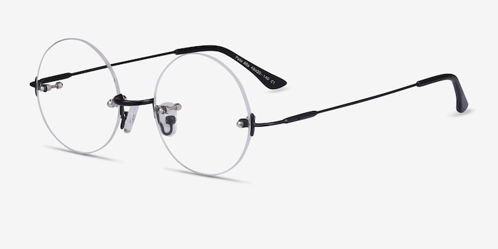 Palo Alto Black Metal Eyeglass Frames from EyeBuyDirect, Angle View
