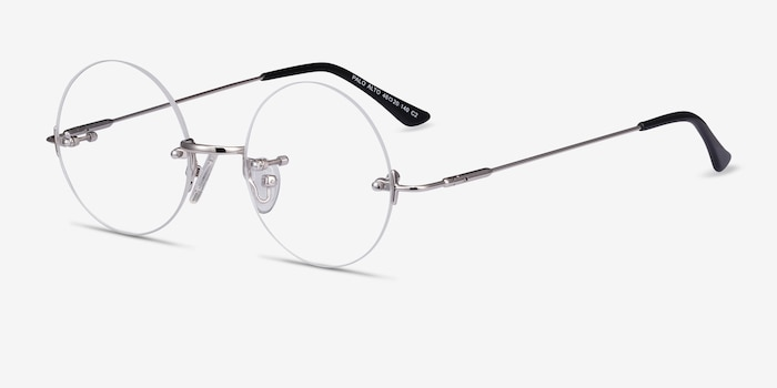Palo Alto Silver Metal Eyeglass Frames from EyeBuyDirect, Angle View