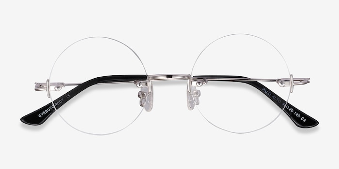 Palo Alto Silver Metal Eyeglass Frames from EyeBuyDirect, Closed View