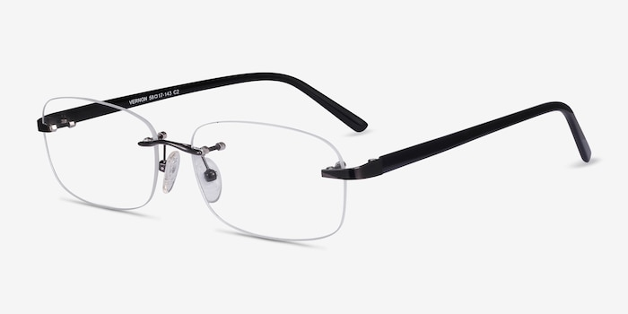 Vernon Gunmetal Acetate Eyeglass Frames from EyeBuyDirect, Angle View