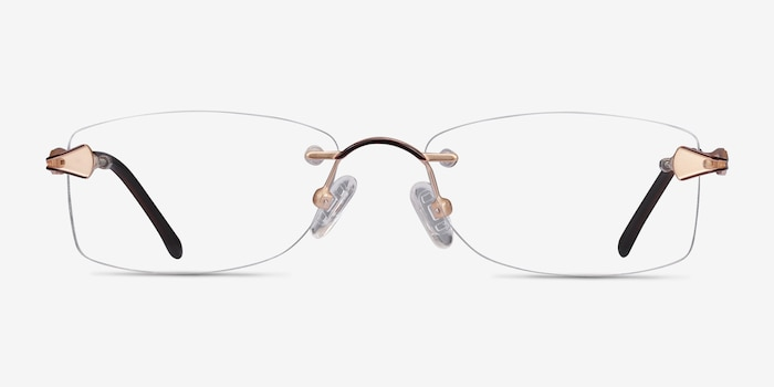 Rivet Golden/Brown Metal Eyeglass Frames from EyeBuyDirect, Front View