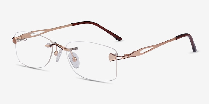 Rivet Golden/Brown Metal Eyeglass Frames from EyeBuyDirect, Angle View