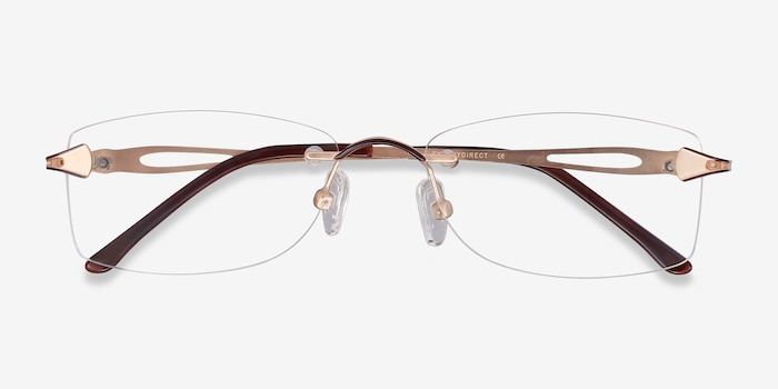 Rivet Golden/Brown Metal Eyeglass Frames from EyeBuyDirect, Closed View
