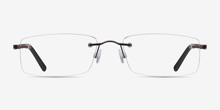 Edison Brown Metal Eyeglass Frames from EyeBuyDirect, Front View
