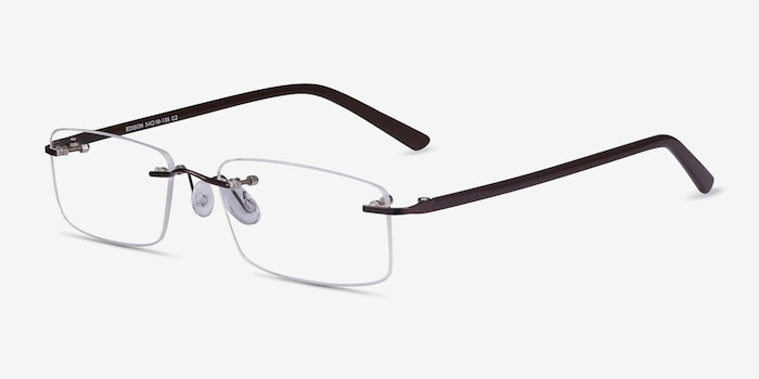 Edison Brown Metal Eyeglass Frames from EyeBuyDirect, Angle View