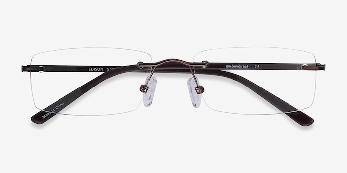 Edison Brown Metal Eyeglass Frames from EyeBuyDirect, Closed View