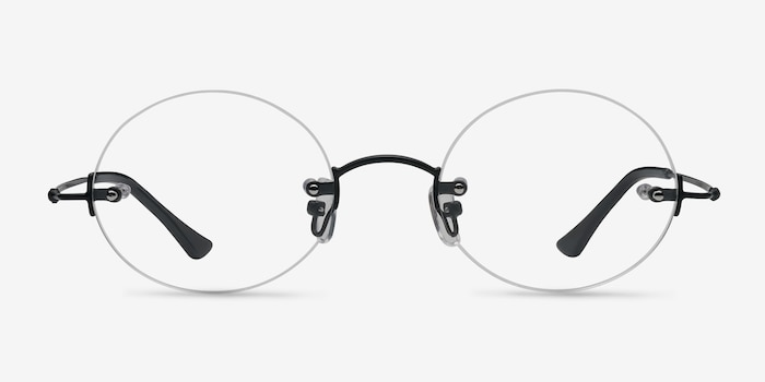 Silver Line Black Metal Eyeglass Frames from EyeBuyDirect, Front View
