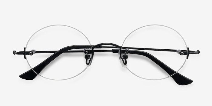 Silver Line Black Metal Eyeglass Frames from EyeBuyDirect, Closed View