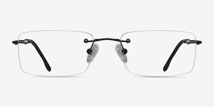 Woodrow Black Metal Eyeglass Frames from EyeBuyDirect, Front View