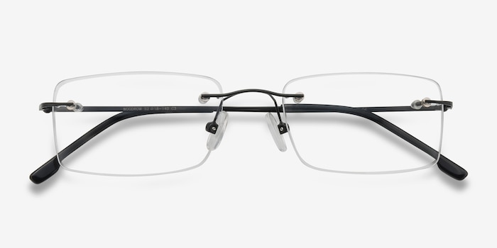 Woodrow Black Metal Eyeglass Frames from EyeBuyDirect, Closed View