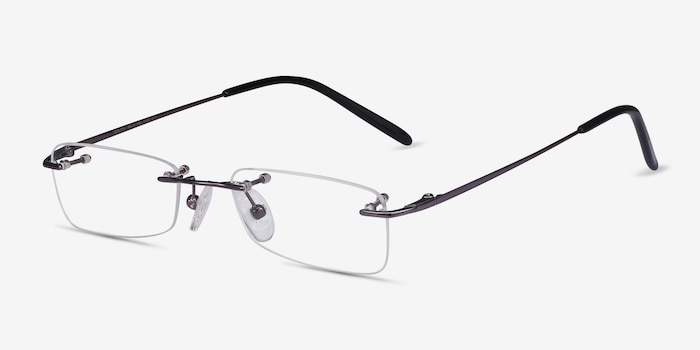 South  Gunmetal  Metal Eyeglass Frames from EyeBuyDirect, Angle View