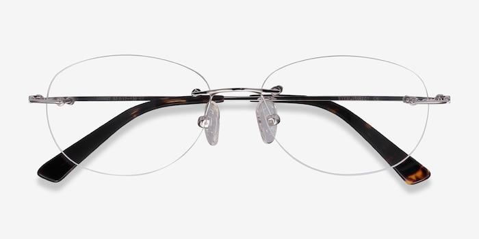 Market Silver Metal Eyeglass Frames from EyeBuyDirect, Closed View