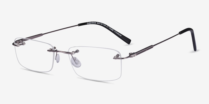 Dimension Gunmetal Titanium Eyeglass Frames from EyeBuyDirect, Angle View