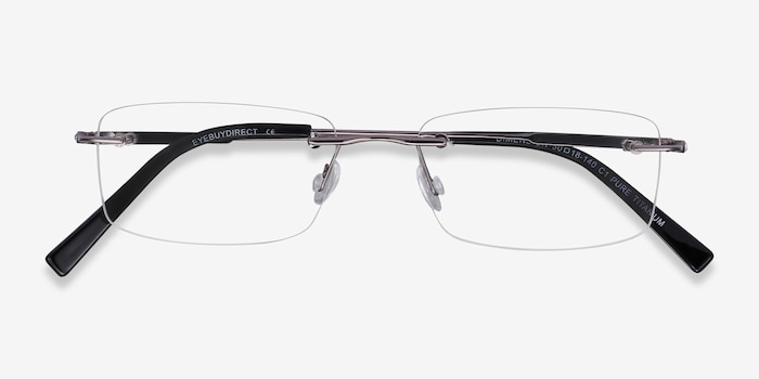 Dimension Gunmetal Titanium Eyeglass Frames from EyeBuyDirect, Closed View