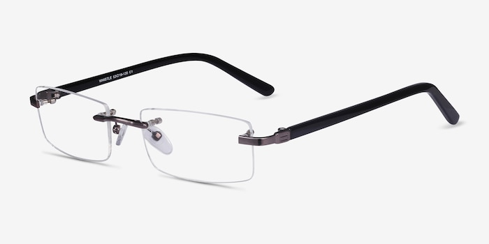 Whistle Gunmetal Metal Eyeglass Frames from EyeBuyDirect, Angle View