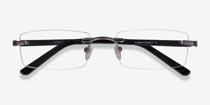 Whistle Gunmetal Metal Eyeglass Frames from EyeBuyDirect, Closed View