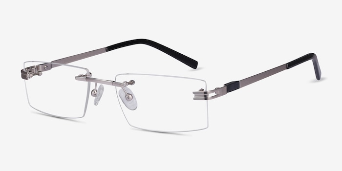 Encrypt Silver Metal Eyeglass Frames from EyeBuyDirect, Angle View