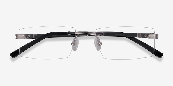 Encrypt Silver Metal Eyeglass Frames from EyeBuyDirect, Closed View