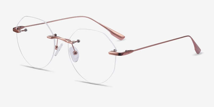 Sahar Rose Gold Metal Eyeglass Frames from EyeBuyDirect, Angle View