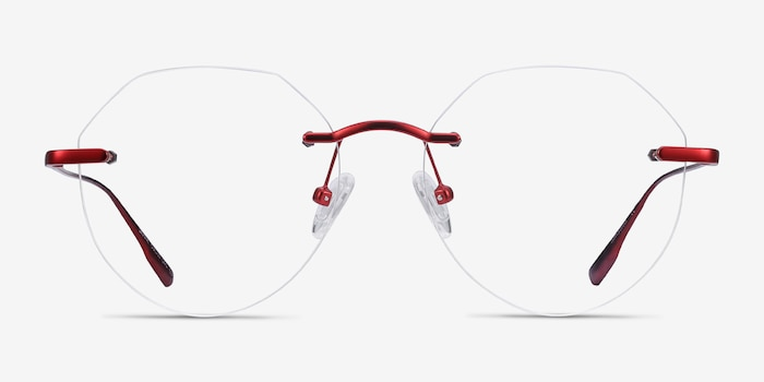 Sahar Red Metal Eyeglass Frames from EyeBuyDirect, Front View