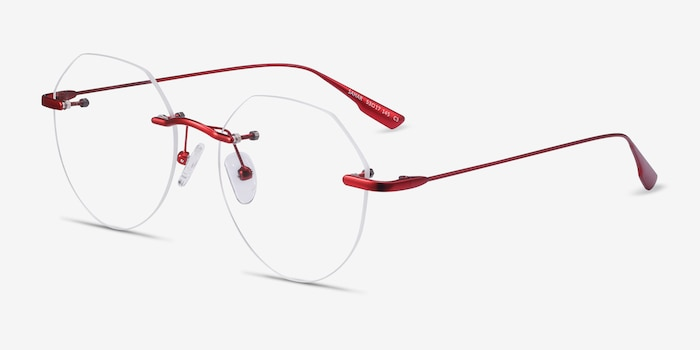 Sahar Red Metal Eyeglass Frames from EyeBuyDirect, Angle View