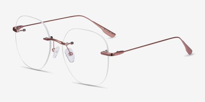 Lisa Rose Gold Metal Eyeglass Frames from EyeBuyDirect, Angle View