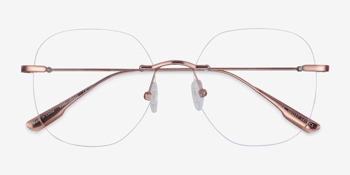 Lisa Rose Gold Metal Eyeglass Frames from EyeBuyDirect, Closed View
