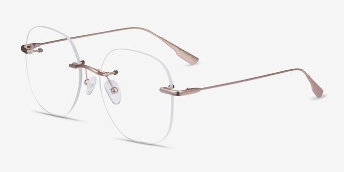 Lisa Gold Metal Eyeglass Frames from EyeBuyDirect, Angle View