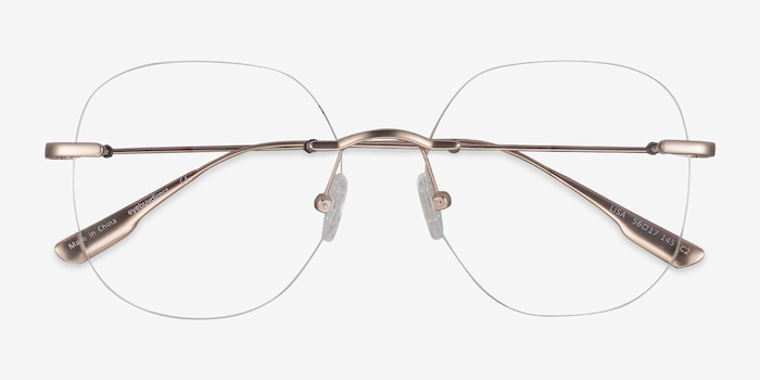 Lisa Gold Metal Eyeglass Frames from EyeBuyDirect, Closed View