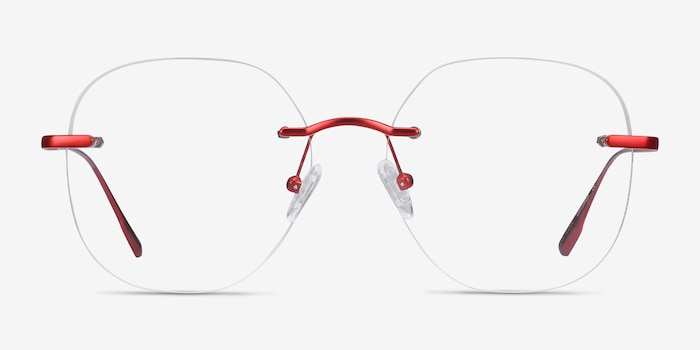 Lisa Red Metal Eyeglass Frames from EyeBuyDirect, Front View
