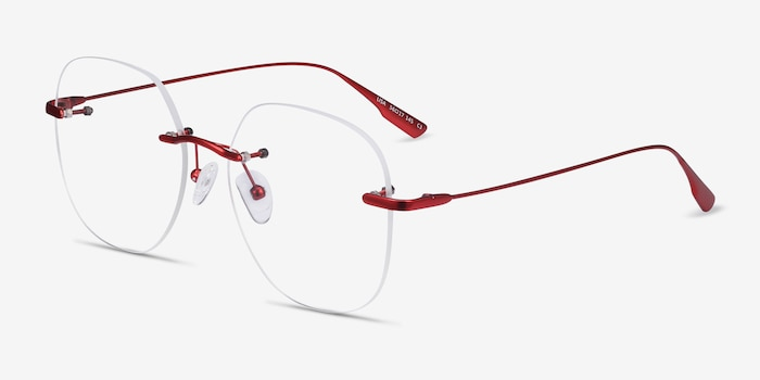 Lisa Red Metal Eyeglass Frames from EyeBuyDirect, Angle View