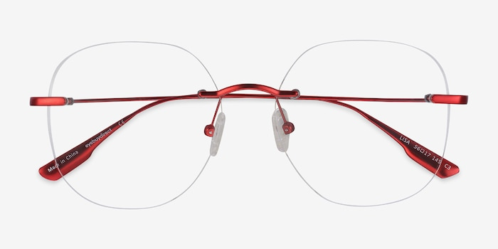 Lisa Red Metal Eyeglass Frames from EyeBuyDirect, Closed View
