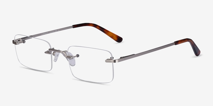 Simplicity Silver Metal Eyeglass Frames from EyeBuyDirect, Angle View