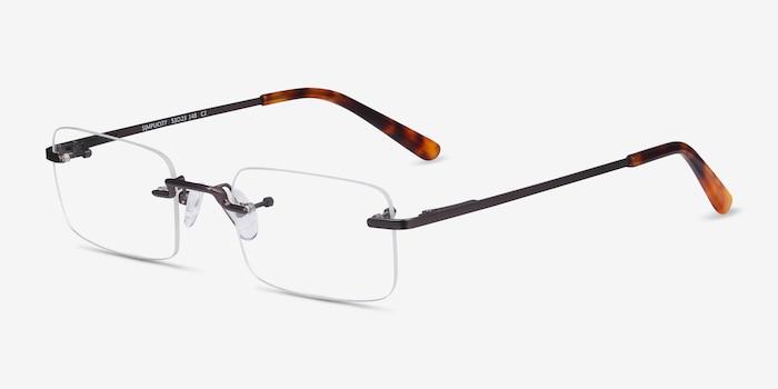Simplicity Gunmetal Metal Eyeglass Frames from EyeBuyDirect, Angle View